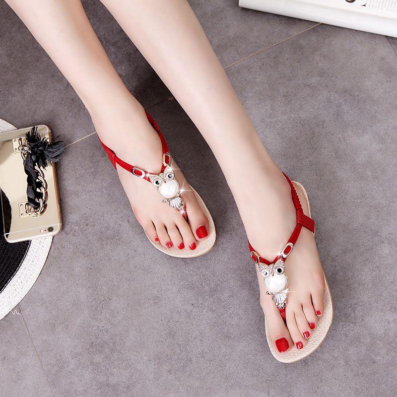 a63f8b99bbca35 Oeak Women S Rhinestone Thong Sandals Flats Owl Shoes Flip Flops Flats  Rhinestone Shoes Plus Size 35 42 Platform Sandals Wedges Shoes From  Beigekar