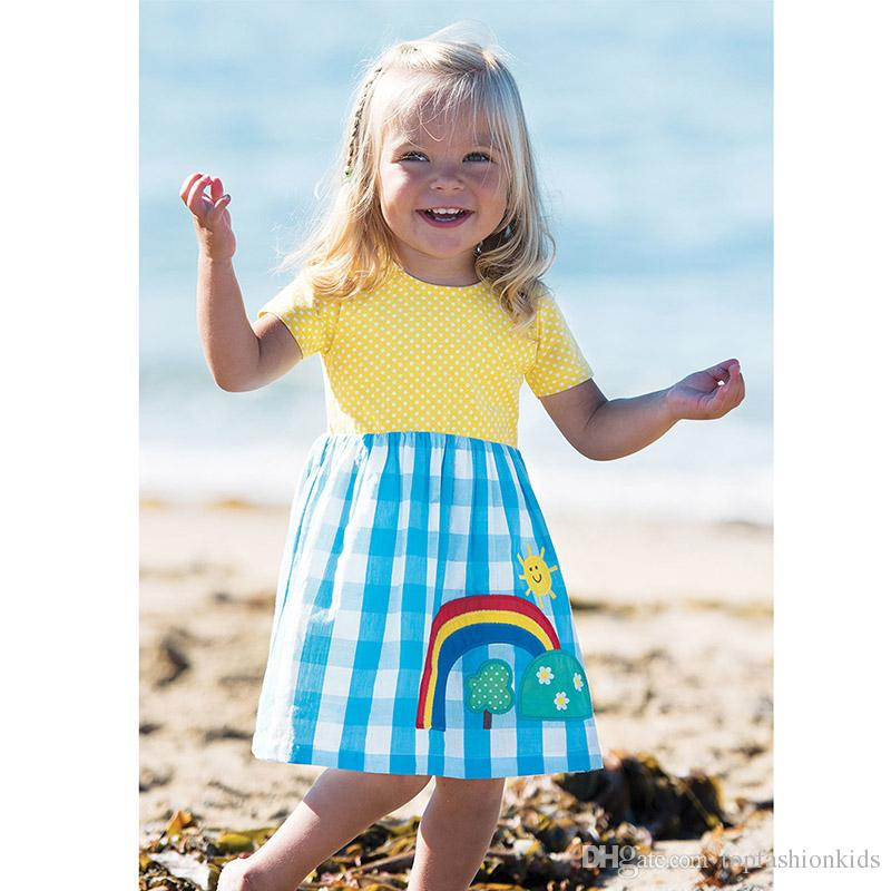 afd02ea09e5 2019 Cute Girl Dress 100% Cotton Summer Dress Animals Appliqued Kids Short  Sleeve Dress With Unicorn Baby Girl Clothing From Topfashionkids