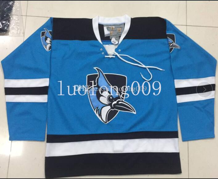 new styles b07f5 5f2fd Customize Johns Hopkins Blue Jays Hockey Jersey Embroidery Stitched any  number and name Jerseys