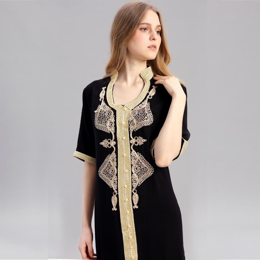 2d5c938d3a Embroidery Women Islamic Clothing Maxi Long Sleeve Long Moroccan ...