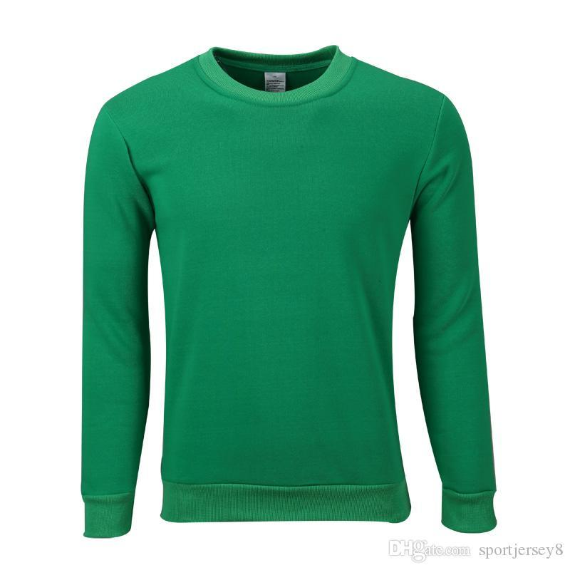 Polyester fleece round neck sweater trend men's autumn and winter wild monochrome Grass green Long Sleeve JH-024-102