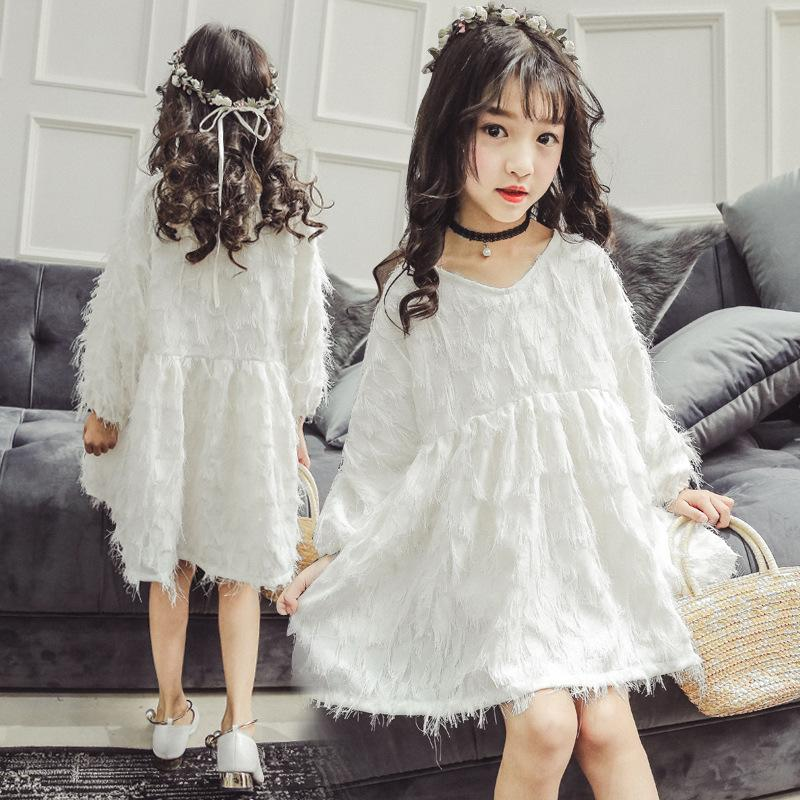 0a0ebbf2 2019 2019 Spring White Long Sleeve Princess Dresses Age 10 12 Years Old Cute  Kids Clothes Big Girls Dress From Usefully20, $58.04 | DHgate.Com