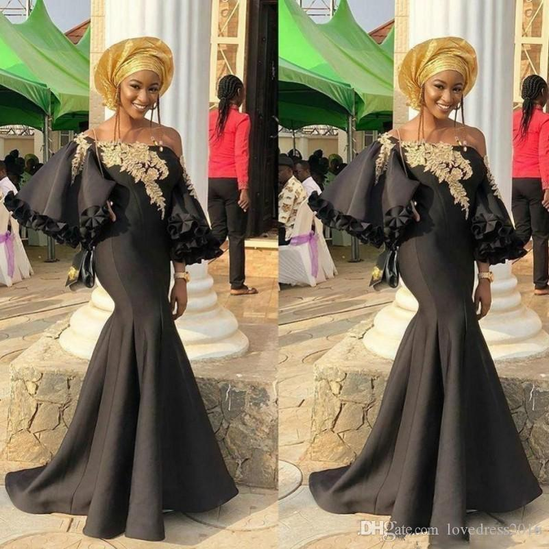 18d4a8261ac 2019 Mermaid Black African Evening Dresses With Lace Applique Long Sleeves  Prom Dresses Formal Party Gowns Cheap Evening Dresses Evening Dresses  Online From ...