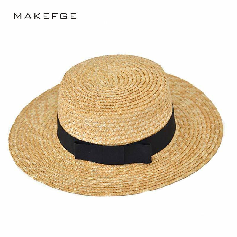Athlete 2017 Summer New Fashion Wheat Panama Sun Beach Ribbon Bow Knot  Naval Style Straw Hat Woman Cap C19011401 Online with  12.69 Piece on  Tong06 s Store ... 281465edc8da
