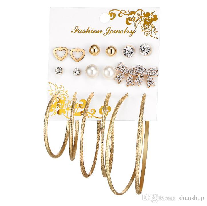 fd8f88b61 2019 Fashion Crystal Infinite Stud Earrings Set For Women Simulated Pearl  Ball Big Circle Bowknot Heart Wedding Earring Statement Jewelry From  Shunshop, ...