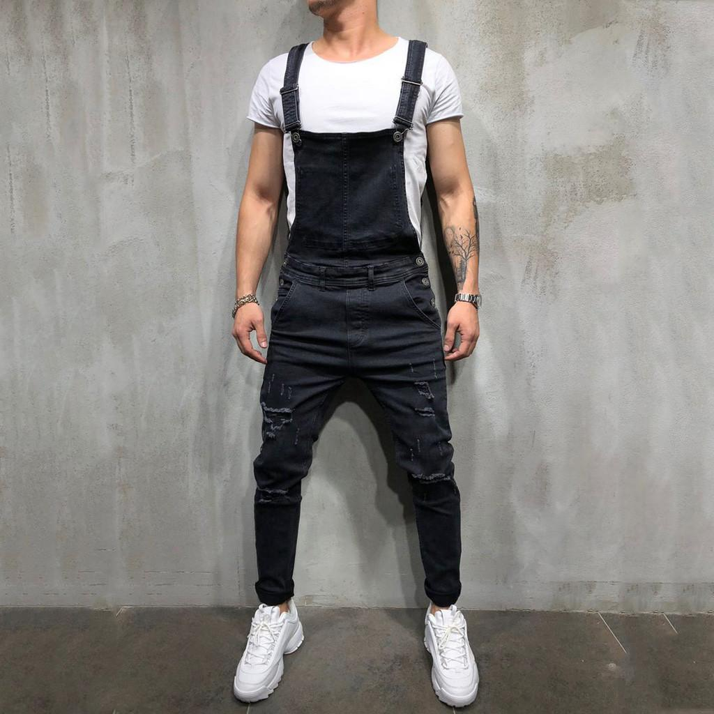 4d242c7c43b4 2019 Men S Jeans Overall Casual Jumpsuit Jeans Wash Broken Pocket Trousers  Suspender Pants Fashion Skinny Men 2019 NEW From Radishu