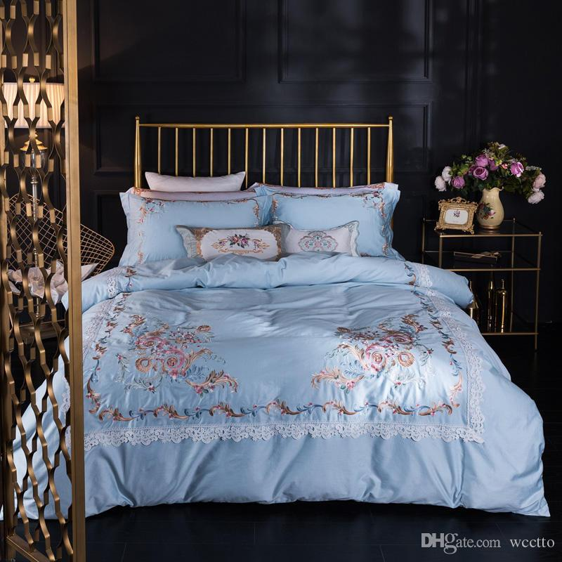 Lace edge stain jacquard cotton bedding sets silver color luxury noble bedclothes 4pcs soft queen king size duvet coverbed sheet