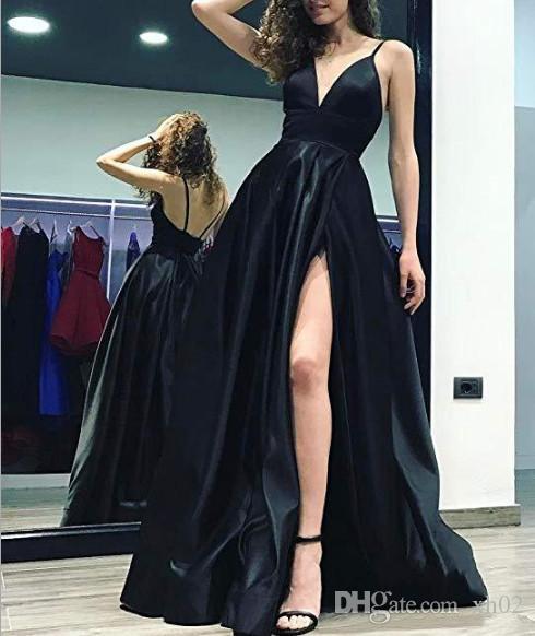 0a8f0451289411 2019 Sex Split A Line Deep V Neck Mermaid Prom Evening Dresses Sleeveless  Women'S Long Prom Evening Party Gowns Long Sleeved Evening Dresses Uk Navy  Blue ...