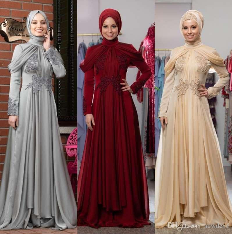 Muslim Evening Dresses 2018 Ball Gown V-neck Long Sleeves Tea Length Satin Islamic Dubai Kaftan Saudi Arabic A-line Evening Gown Elegant In Style Weddings & Events
