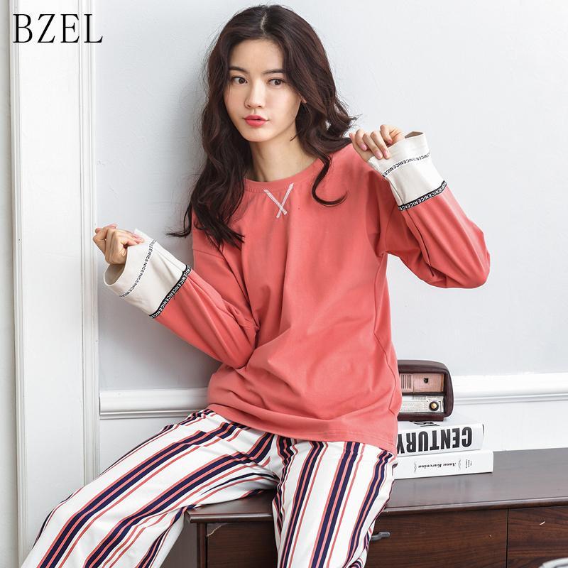 25486c868 Compre BZEL Pijamas Para Mujeres 2 Piezas Ropa De Dormir De Algodón Pijama  Ropa Casual Para El Hogar Ropa Para El Hogar Pijama Con Cuello Redondo Para  ...