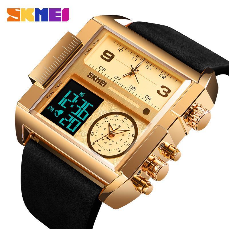eb513864e4f Compre Skmei Homens Esportes Homem Relógio De Quartzo Relógios De Luxo Da  Marca De Ouro Relógio Masculino Três Vezes Relógio De Pulso Digital Relogio  ...