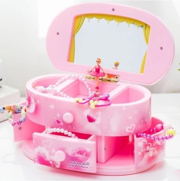 Pink Beautiful Ballet Dancer Doll Music Box Jewelry Organizer Make Up Box Portable Musical For Kids Girls Children Gift