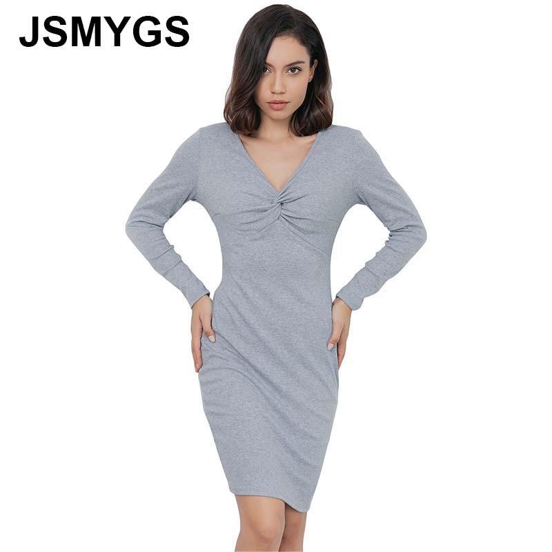 Compre JSMYGS Moda 2019 Costura Sólido Vestido De Mujer De Manga Larga Con  Cuello En V De Punto Temperamento Delgado Elegante Mini Vestido De Las  Señoras De ... 2e82d49e169d