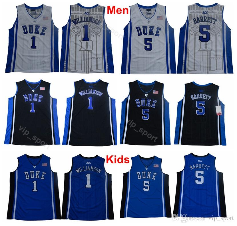 0d9d5c1a5017 2019 Man Youth Zion Williamson Jerseys 1 Men College Duke Blue Devils Kids  RJ Barrett Jersey 5 University Team Color Blue Black White From Vip sport