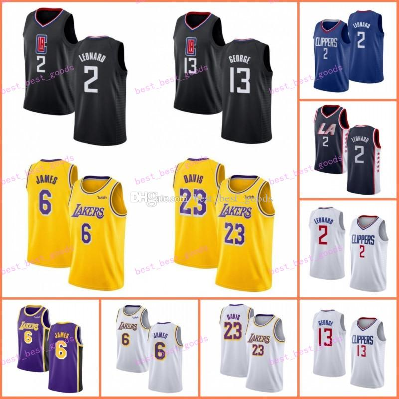 official photos 9c53b 64b44 NCAA LA Clippers Jerseys Kawhi 2 Leonard 6 LeBron James Paul 13 George 23  Anthony Davis Los Angeles Basketball School Laker