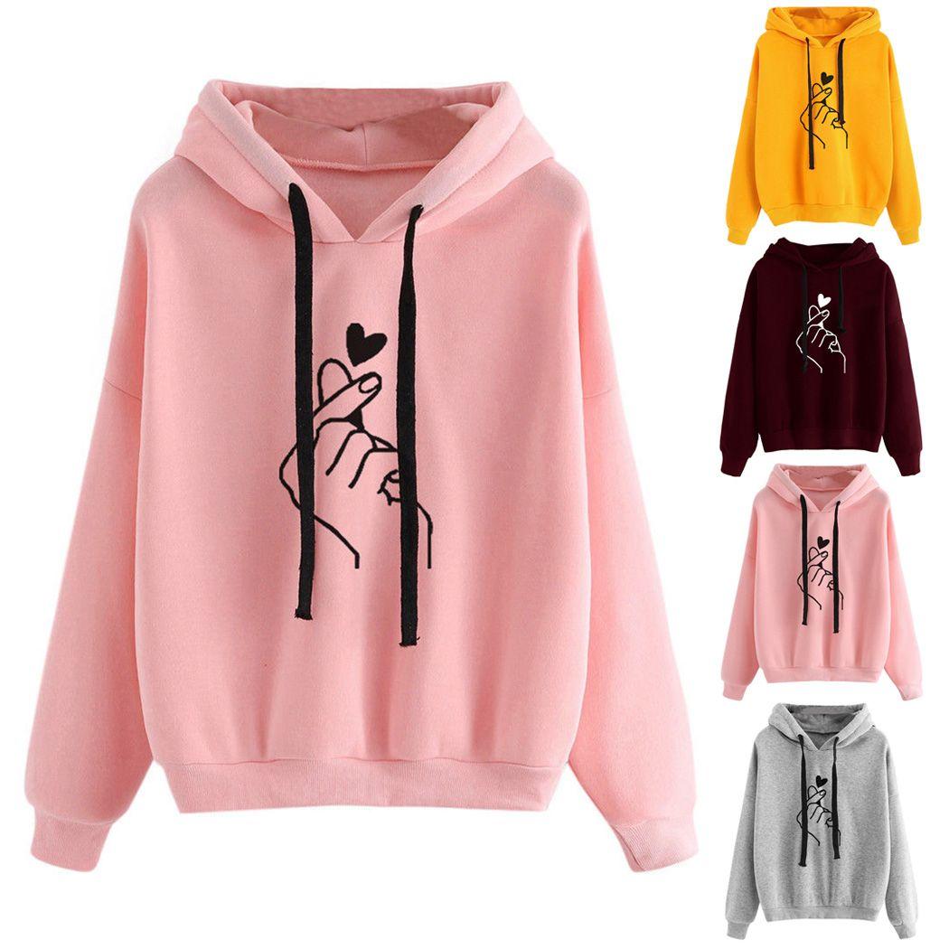 Harajuku Kawaii Pink Hoodies Women Love Heart Printed Hooded Sweatshirt  Kpop Tops Cute Ladies Loose Pullover Streetwear Moletom UK 2019 From  Clothwelldone 9d8ce353d