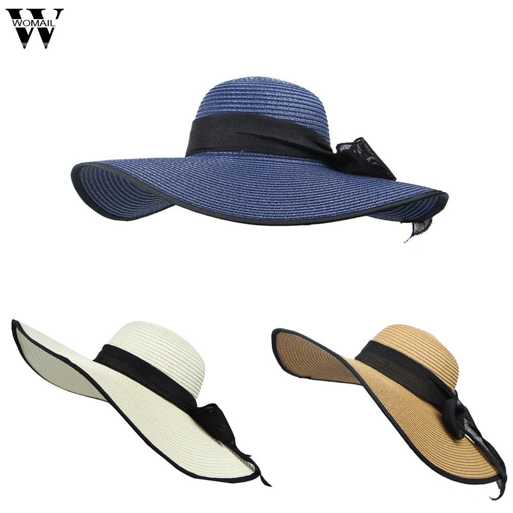 8d0eb0ef127cd4 Womail Hat Women Cap Wide Large Brim Foldable Straw Cap Summer Beach ...