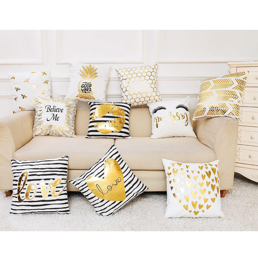 Ebay Wish Flannelette Gilded Pillowcase Car Sofa Pillow Cushion Pillow Cover