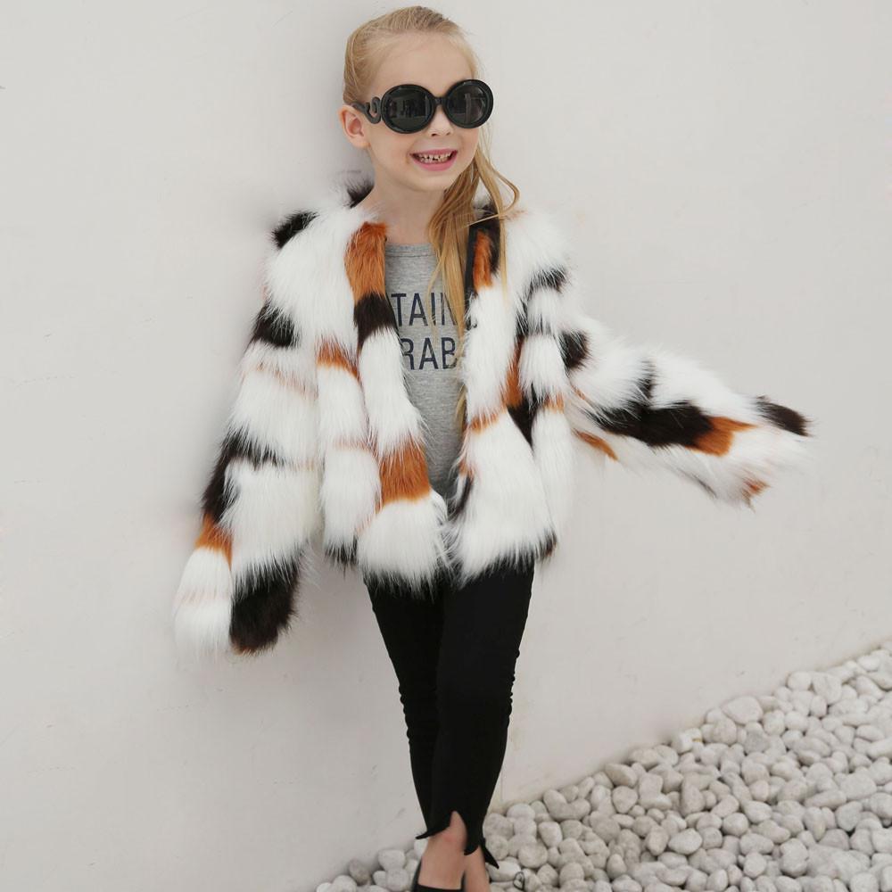 3d685bb72 Newest Fashion Kids Baby Girls Autumn Winter Faux Fur Coat Jacket ...