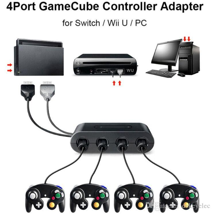 New Hot 4 Ports Converter For GameCube GC Controllers USB Adapter Converter  for Wii /Nintendo Switch Supports Home and Turbo Functions