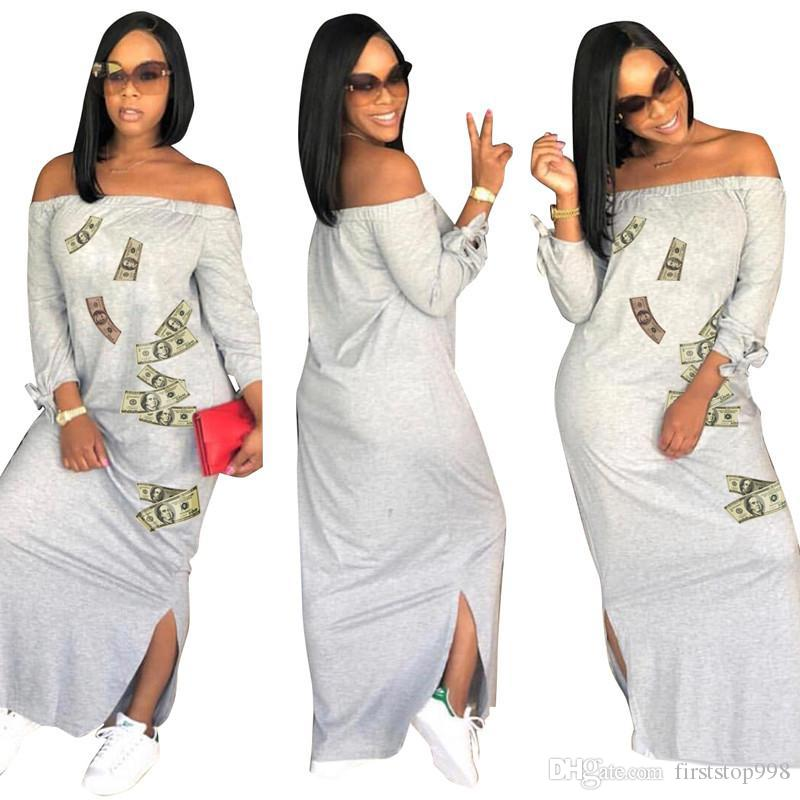 Women Summer Maxi Dresses Dollar Print Long Sleeve Dress Slash Neck Loose Skirts Side Split Sexy Skirt