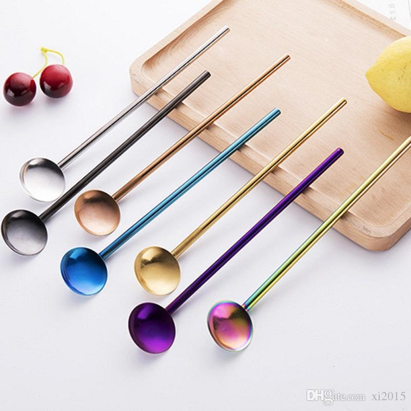 Drinking Straws Stainless Steel Stirrer Ladle Reusable Sucker Spoon Cafe Party