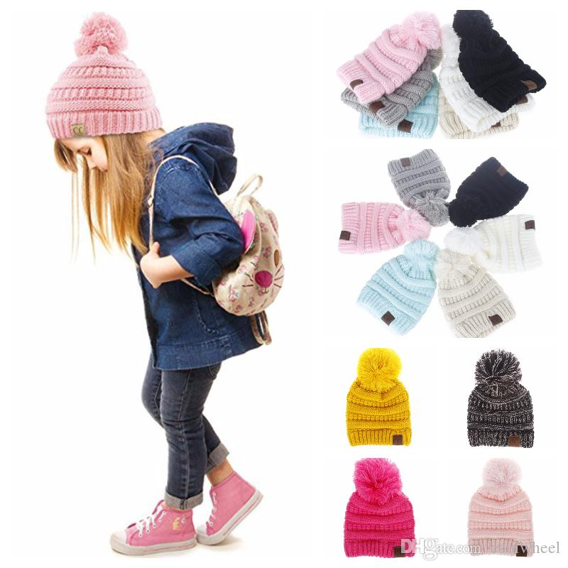 4603c099a91 Christmas Gifts 2-8 Years Children CC Caps Kids Beanies Visor Cap CC Hats  Girls Winter Warm Hat Woolen Knitted Hats Casual Headgear Knitted Hat CC  Pony Tail ...