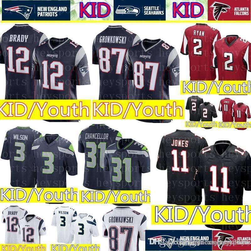 5547ced53 2019 New KID #12 Tom Brady Patriots Jersey Youth 11 Julio Jones Atlanta  Falcons KID 3 Russell Wilson Seattle Seahawks Jerseys Cheap Wholesale From  ...