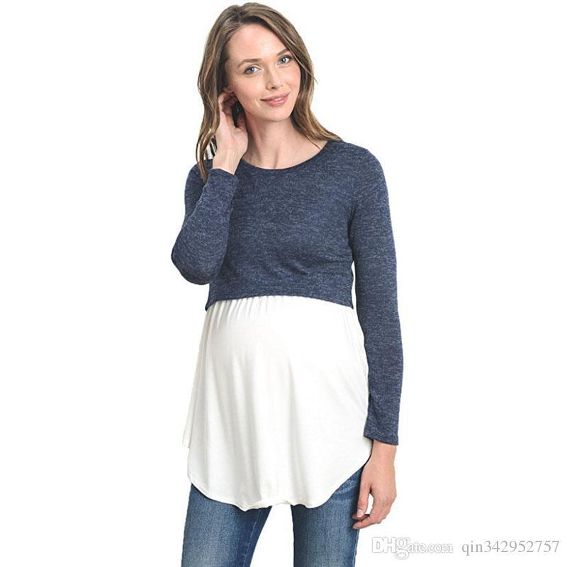 1af35c8529ac2 2019 Long Sleeve Breastfeeding Pregnancy Tops Nursing Maternity ...