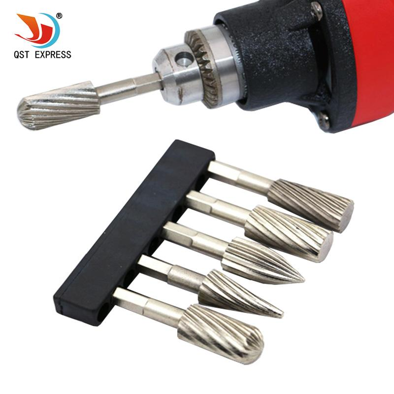 "file material Electric Grinder HSS Files Burr 5pcs 1/4"" Rotary Burr Set For Soft Metal Plastic Wood Grinding Carving Rotary Rasp"