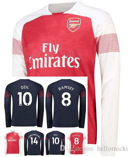 quality design 89072 2c3ab 2018 2019 Gunners OZIL AUBAMEYANGA Away Long sleeve soccer jersey 18 19  ALEXIS WILSHERE MKHIARYAN LACAZETTE XHAKA football shirts