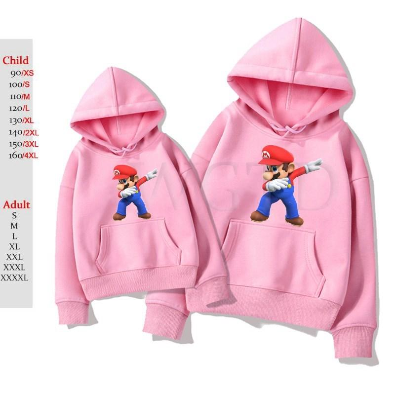 Tupfende Super Mario Hoodies Frauen Männer Langarm Sweatshirt Kinder Hip Hop Trainingsanzug Fleece Warm Outwear Hoodie Sweatshirt