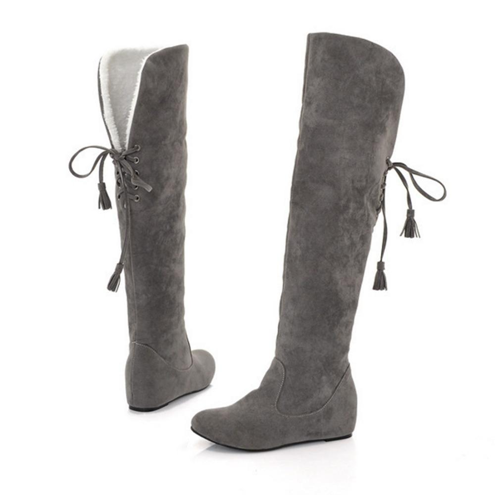0013ba5eb Compre 2019 Mulheres Estiramento Faux Suede Slim Botas Planas 2018 Moda  Sobre O Joelho Botas Mulher Sapatos Cinza Preto 5 Cores De Inverno Quente  Botas ...