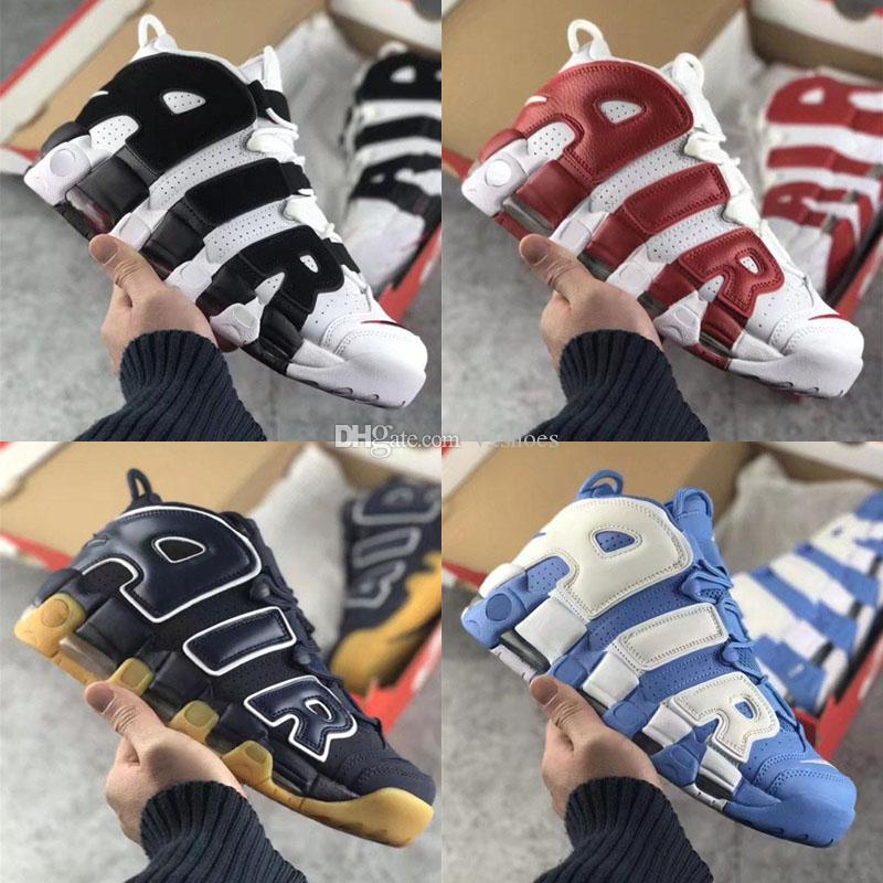 2018 New Air More Tricolor Uptempo QS 96 bsidian Bordeaux Olympic Bulls UNC Gimnasio Rojo Hombres Zapatos casuales 3M Scottie Pippen Zapatos casuales