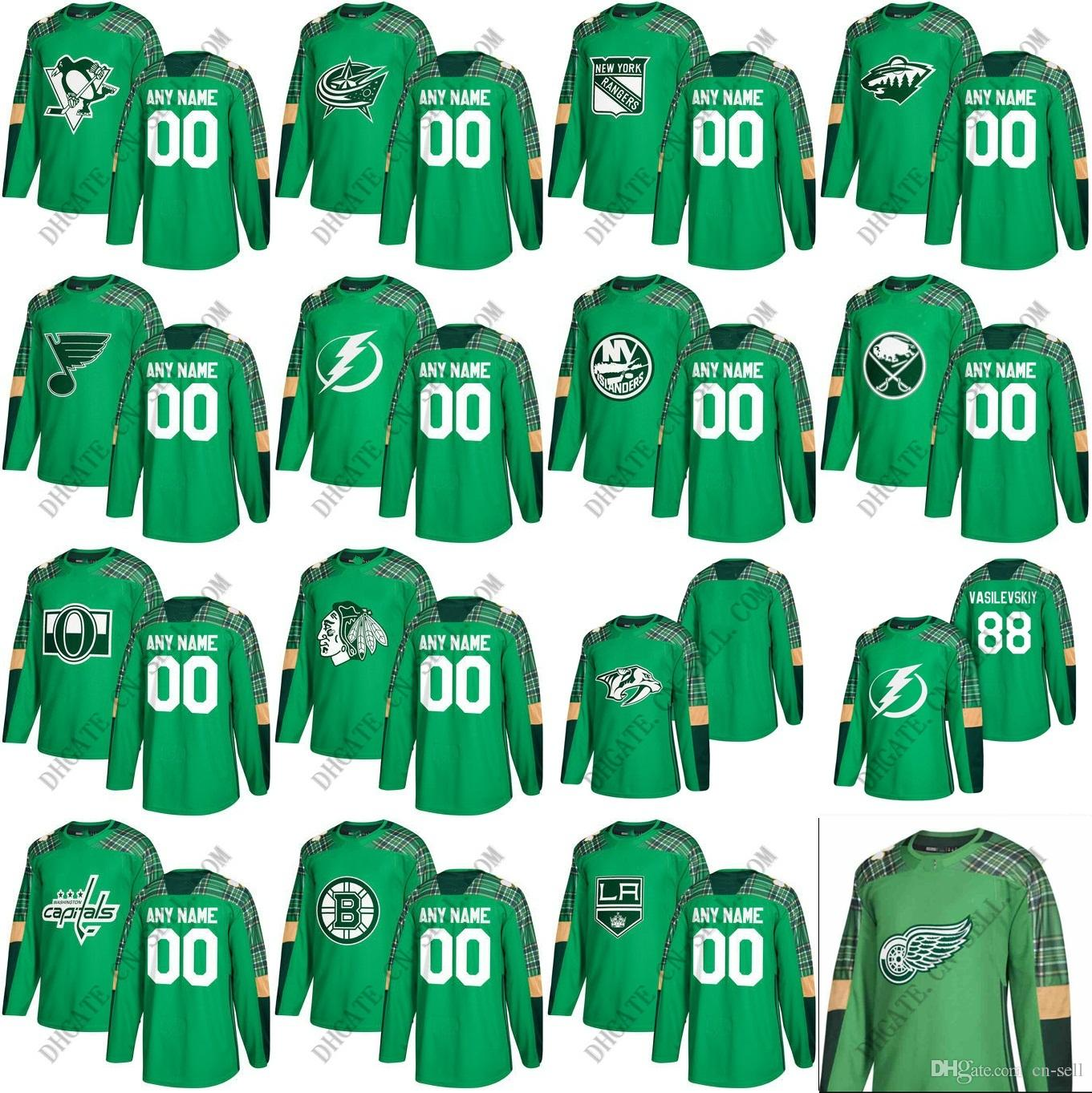 2018 St. Patrick s Day Hockey Jersey Goalie Cut Any Name   NO. Own Design  Chicago-Blackhawks Pittsburgh Flyers Leafs Capitals RANGERS WILD Wholesale  Hockey ... d913c5eb0