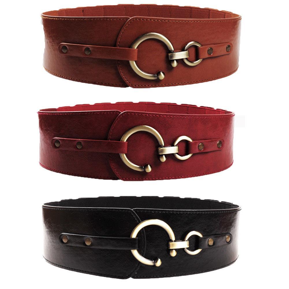Compre Nueva Moda De Oro Semicircular Hebilla De Cinturón Ancho Hembra  Marrón   Negro   Rojo Vino PU Cinturones De Cintura De Cuero Para Mujeres  Pantalones ... 492d4f67bdb0