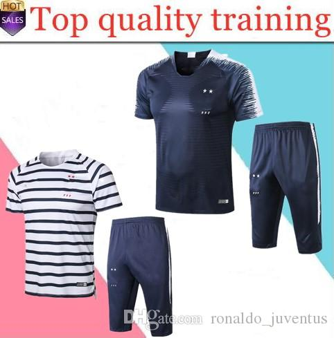 df19d781a Top Selling 2018 World Cup French POGBA MBAPPE GRIEZMANN Short Sleeve 3 4  Pants Soccer Tracksuit Chandal Survetement Football Training Suit 2019 20  PSG ...