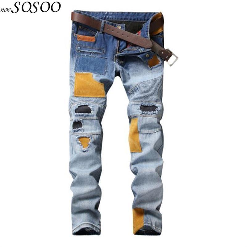 Fashion Patches beggars jeans ripped jeans for men trousers cool creative European and American style men's #550-5