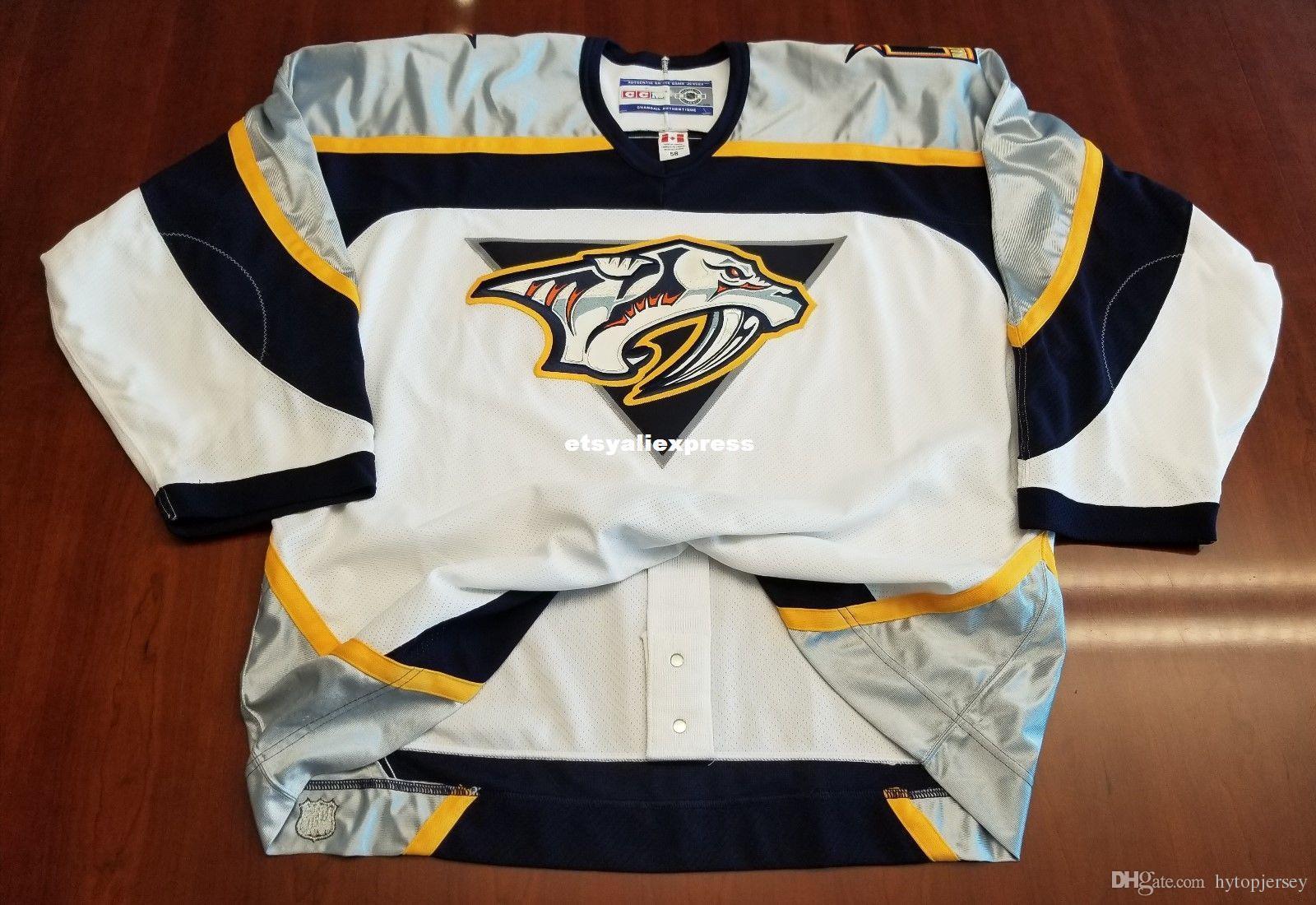 new product 137b6 6879c Wholesale Nashville Predators Vintage CCM Center Ice Authentic Pro Cheap  Hockey Jersey Mens Retro Jerseys