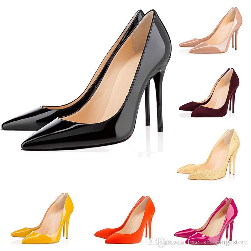 8860e3f458 Compre Moda Designer De Luxo Mulheres Sapatos De Fundo Vermelho De Salto  Alto Tão Kate 8 Cm 10 Cm 12 Cm Nude Preto Branco Couro Dedos Apontados  Bombas ...