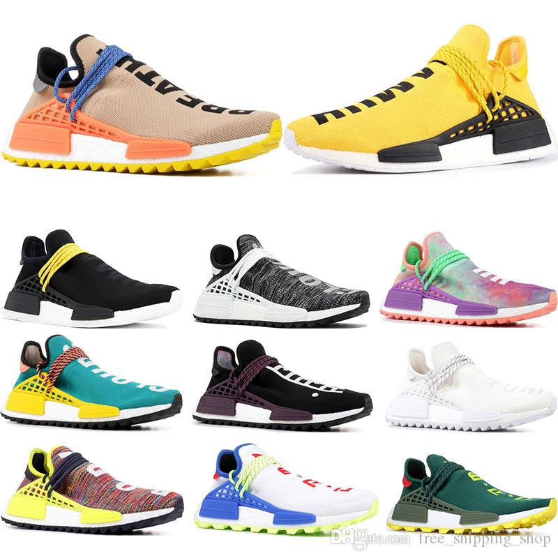 2f221b60e572b 2019 Designer Human Race Hu Trail Pharrell Williams Running Shoes Nerd  Black Cream Holi Trainers Mens Women Sports Runner Sneaker Size 36 47 Men  Shoes On ...
