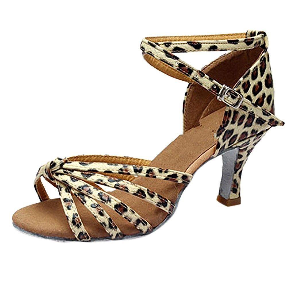 bcf6596c10925 Acheter Sexy Talons Sandales Femmes Fille Latin Dance Shoes Pour Dames Med  Talons Satin Chaussures Party Tango Salsa Chaussures De Danse 10 De  28.53  Du ...