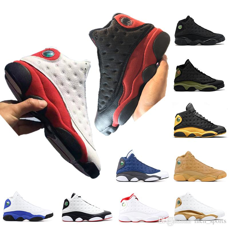 e9810fee6fb0da High Quality 13 13s Mens Basketball Shoes Bred Chicago Black Cat Olive Green  Wheat Hyper Royal Mens Trainers Designer Shoes Size 7-13 13 13s Mens  Basketball ...