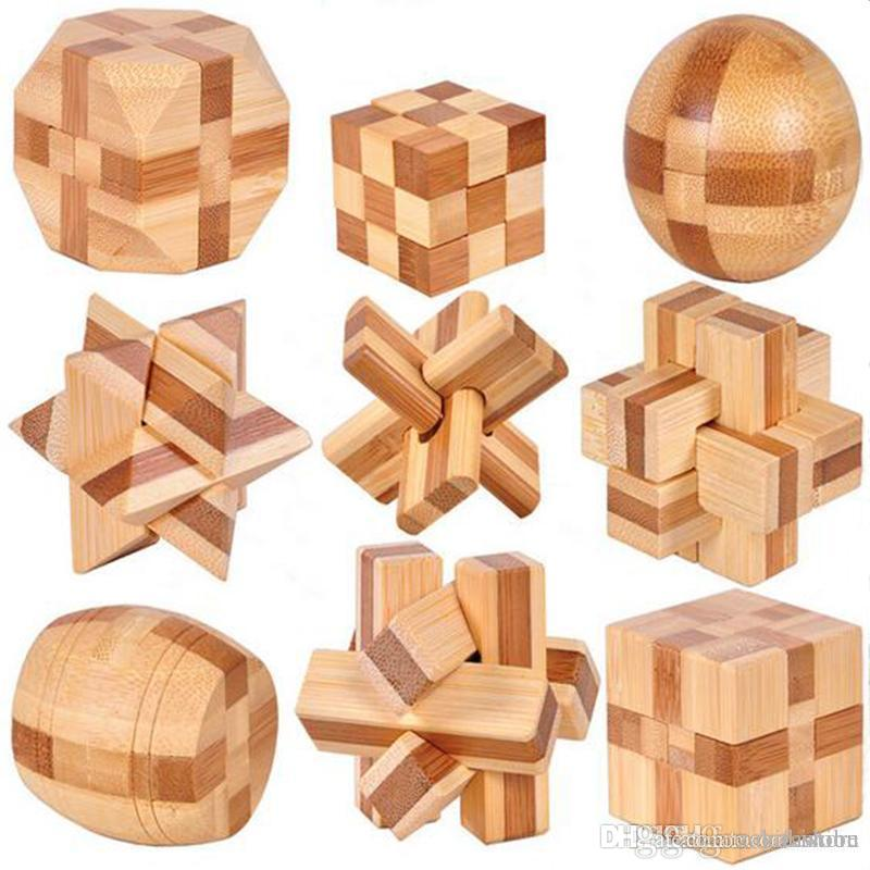 9 PCS New Excellent Design IQ Brain Teaser 3D Wooden Interlocking Burr Puzzles Game Toy For Kids