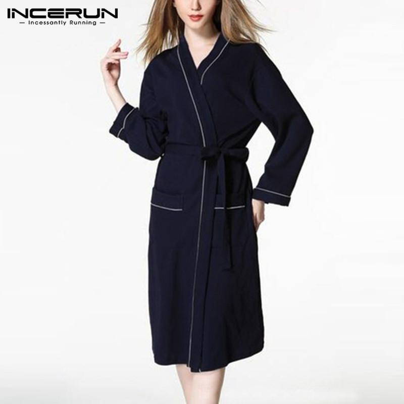 49bc50abf082 2019 Fashion Women Men Robes Long Sleeve Sleepwear Solid Color Belted Comfy  Couple Male Ladies Homewear Bathrobes Nightgown Pajamas From Blackbirdd
