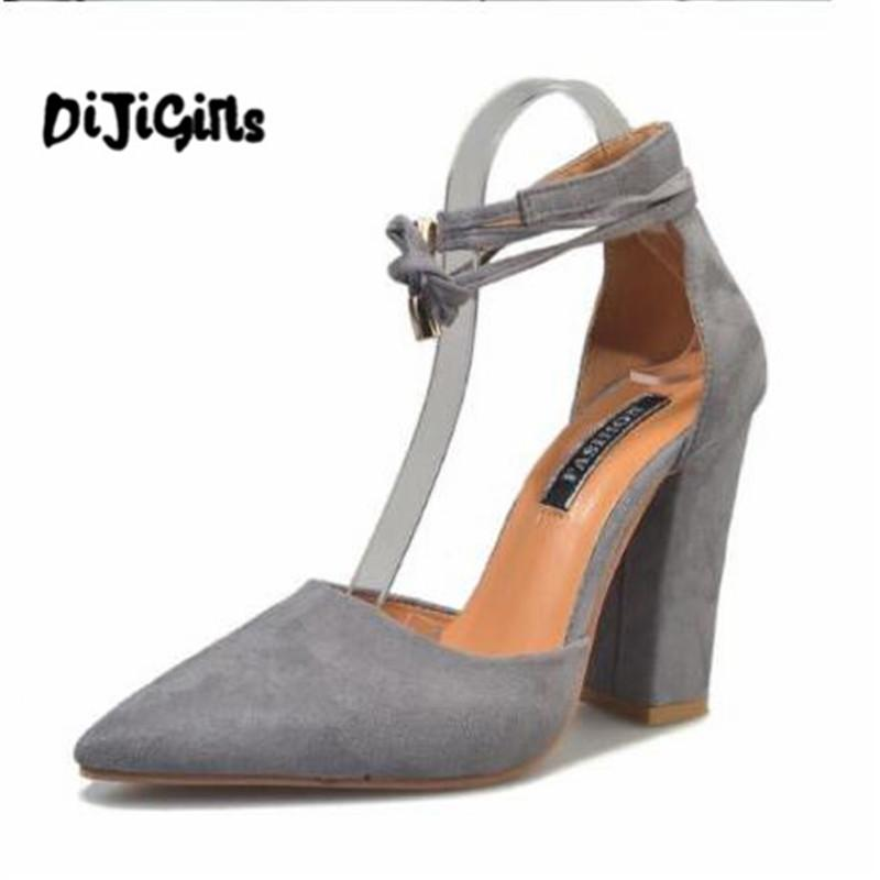 53668f72ab Dress Shoes Pointed Strappy Pumps Sexy Retro High Thick Heels 2107 New  Woman Female Lace Up Boots For Men Wedge Shoes From Deals333, $32.17|  DHgate.Com
