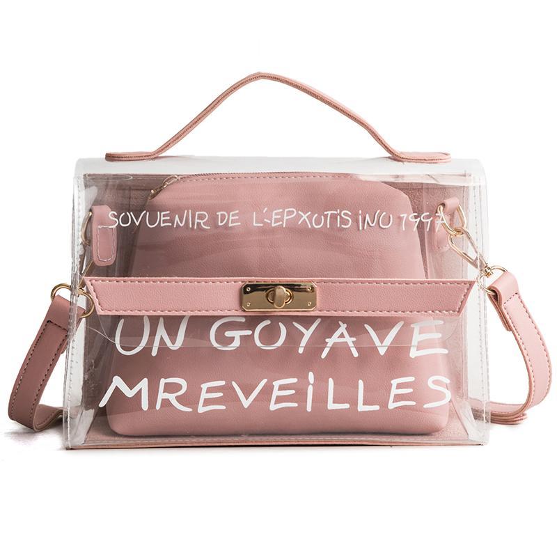 Shoulder Bags Brand Design Gilrs Transparent Pvc Handbag Star Printing Kids Fashion Jelly Bag Mini Crossbody Bag Women Holiday Travel Bag Luggage & Bags