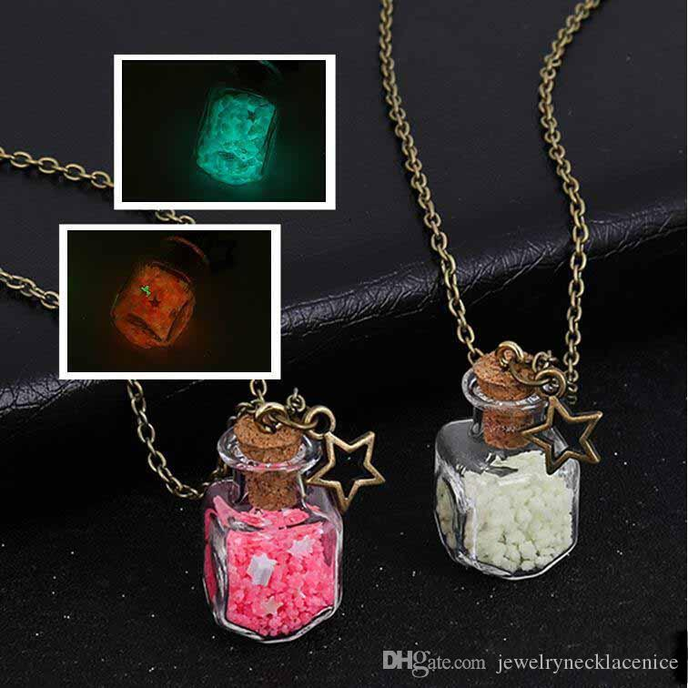 Drift Bottle Pendant Necklace Glow In Dark Rose Flower Party Summer Beach Jewelry Gifts Long Chain Beautifully Necklace Luminous Necklaces