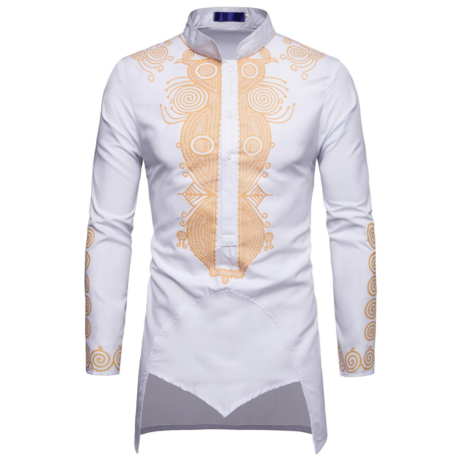 Mens Shirt Autumn And Winter New Casual Collars Long Shirt Middle