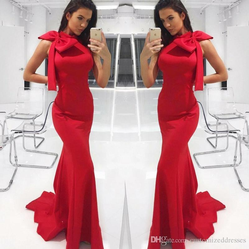 e0d7728c Red Mermaid Prom Dresses With Big Bow On Shoulders Simple Robes De Soirée  Satin Floor Length Evening Dresses 2019 New Arrival Blue Prom Dress  Champagne Prom ...